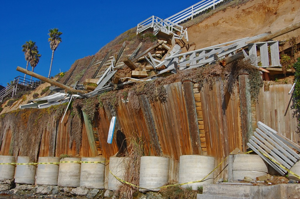 Beach-side bluff collapses