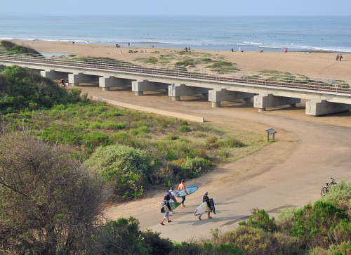 Surfers, Elected Officials Mark Completion Of New Trestles Bridge