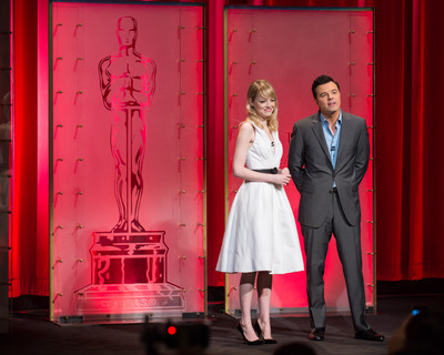 Actress Emma Stone (left) and Academy Awards host Seth MacFarlane announced the nominees for the 85th Annual Academy Awards in the Academy's Samuel Goldwyn Theater. Photo: Matt Petit / ©A.M.P.A.S.