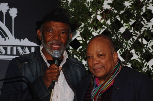 Hubert Laws and Quincy Jones speak to the media at the Playboy Jazz Festival press conference. Photo: Gina Yarbrough/San Diego County News