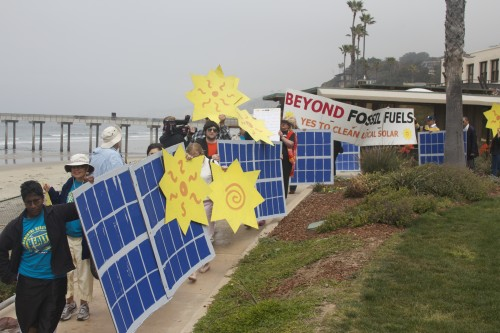 Supporters of a clean energy future in San Diego rallied on the beach in La Jolla asking the California Public Utilities Commission to deny SDG&E the rights to build more energy power plants in San Diego.