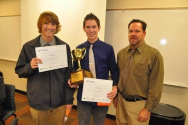 First-place winners Braden McClure, Ryan Donahue-Marucheau and their teacher.