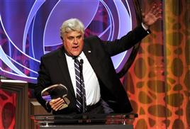 Hall of Fame inductee Jay Leno speaks on stage at the 2014 Television Academy Hall of Fame on Tuesday, March 11, 2014, at the Beverly Wilshire in Beverly Hills, Calif. (Photo by Frank Micelotta/Invision for the Television Academy/AP Images)