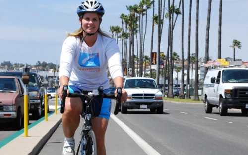 San Diego County employee Melinda Therkalsen bikes to work regularly.
