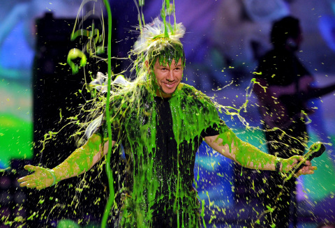 Host Mark Wahlberg gets slimed at Nickelodeon's 27th Annual Kids' Choice Awards, March 29 at USC's Galen Center. Photo: Kevin Winter