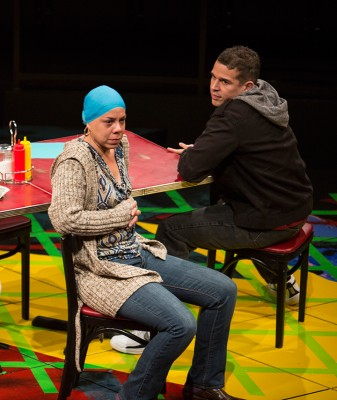 Marilyn Torres as Odessa Ortiz aka Haikumom and Rey Lucas as Elliot Ortiz in the California premiere of Quiara Alegría Hudes's Pulitzer Prize-winning play Water by the Spoonful at The Old Globe. Photo by Jim Cox.