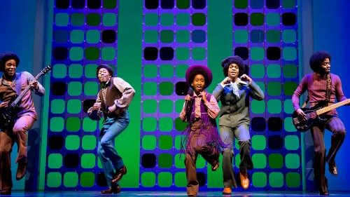 MOTOWN THE MUSICAL ensemble performing JACKSON 5 number at Lunt-Fontanne Theatre, BROADWAY on May 23, 2014.