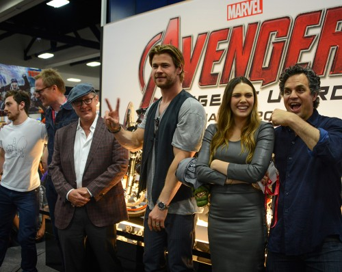 From left -  Aaron Taylor-Johnson (Quiksilver), Paul Bettany (Vision), James Spader (Ultron), Chris Hemsworth (Thor), Elizabeth Olsen (Scarlet Witch), Mark Ruffalo (Bruce Banner)