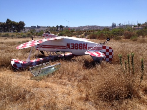A small plane rests on a field after it crashed near the Oceanside Municipal Airport. Photo: Oceanside Police Department