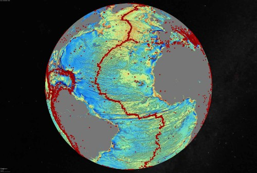 A marine gravity model of the North Atlantic. Photo: David Sandwell, Scripps Institution of Oceanography, UC San Diego