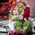 Gabriella Dimmick as Cindy-Lou Who and Steve Blanchard as The Grinch in the 2013 production of Dr. Seuss' How the Grinch Stole Christmas! The 17th annual production of Dr. Seuss' How the Grinch Stole Christmas!, directed by James Vásquez, will run Nov. 15 - Dec. 27, 2014 at The Old Globe. Photo by Jim Cox.