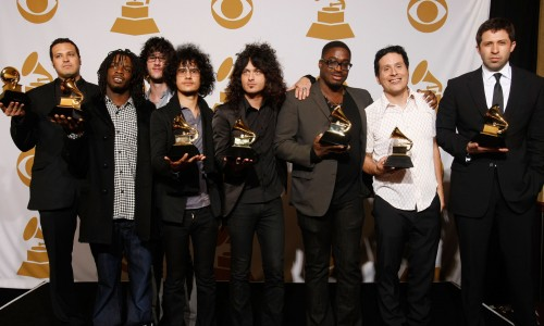 "(L-R) Musicians Pablo Hinojos-Gonzalez, Thomas Pridgen, Marcel Rodriguez-Lopez, Omar Rodriguez-Lopez, Cedric Bixler-Zavala, Isaiah ""Ikey"" Owens, Juan Alderete and Adrian Terrazas-Gonzales of The Mars Volta onstage at the 51st Annual GRAMMY Awards pre-telecast held at the Staples Center on February 8, 2009 in Los Angeles, California. (Photo by Michael Buckner/WireImage)"