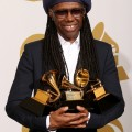 Nile Rodgers poses in the press room at the 56th Annual GRAMMY Awards at Staples Center on January 26, 2014 in Los Angeles, California. Photo: Dan MacMedan/WireImage.