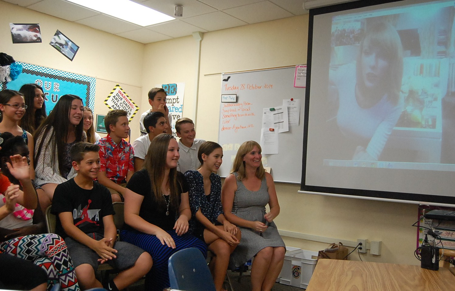 Twin Peaks Middle School students talk to singing sensation Taylor Swift, via Skype. Photo: Gina Yarbrough/San Diego County News