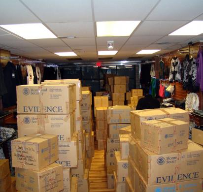 More than $1 million counterfeit goods were seized from a Detroit business. Photo: ICE