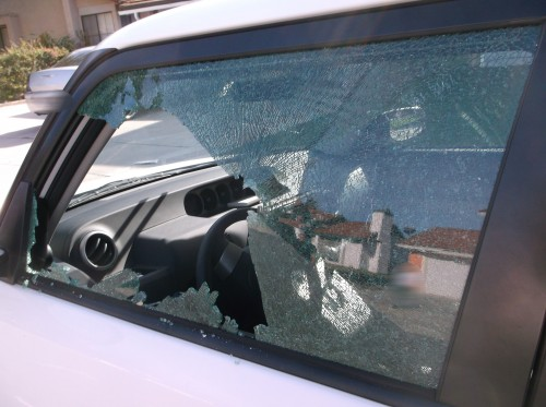 One of several vehicles damaged during a vandalism spree in Poway. Photo: Sheriff's Department
