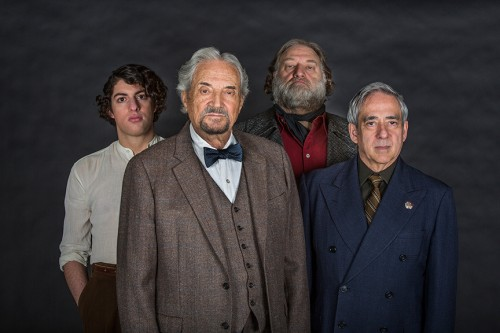 From left, Eli Gelb appears as Pinchas Pelovits, Hal Linden as Yevgeny Zunser, Ron Orbach as Moishe Bretzky, and Robert Dorfman as Vasily Korinsky in the West Coast Premiere of Nathan Englander's The Twenty-seventh Man, directed by Old Globe Artistic Director Barry Edelstein, Feb. 14 - March 15, 2015 at The Old Globe. Photo by Jim Cox.