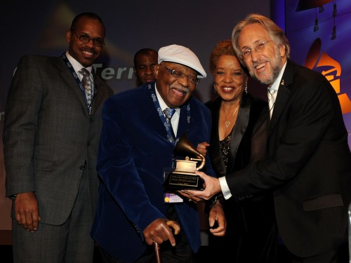 Musician Clark Terry (second from left) is presented with a Lifetime Achievement Award from The Recording Academy President/CEO Neil Portnow (right) at the Special Merit Awards and Nominee Reception at The Wilshire Ebell Theatre in Los Angeles on January 30, 2010. Photo Courtesy of The Recording Academy /Wireimage.com © 2010. Photographed by: R. Diamond