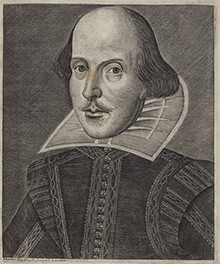 Martin Droeshout. Shakespeare. Engraving, 1623. Credit: Shakespeare First Folio, 1623. Folger Shakespeare Library.