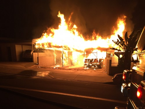 Residential structure fire in La Mesa. Photo courtesy of Heartland Fire and Rescue.