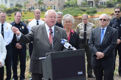County Board of Supervisors Chairman Bill Horn addresses the media on the one-year anniversary of the 2014 May wildfires. Photo: Gina Yarbrough/San Diego County News