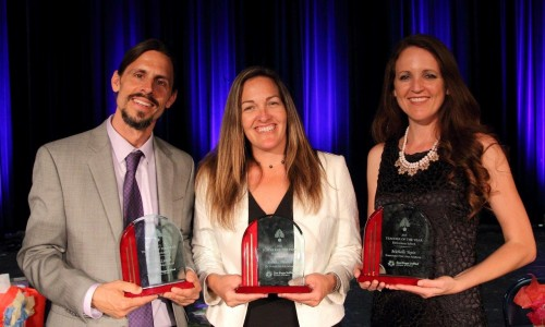 From left to right: Ronald Lancia, High School Teacher of the Year; Brenda Mueller, Middle School Teacher of the Year; Michelle Yepiz, Elementary Teacher of the Year.