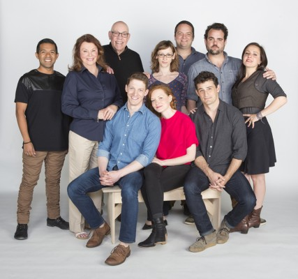 The cast of George Bernard Shaw's romantic comedy Arms and the Man, running May 9 – June 14, 2015 at the Old Globe. Seated: Zach Appelman, Wrenn Schmidt, and Enver Gjokaj. Standing: Ernest Sauceda, Marsha Mason, John Conrad Schuck, director Jessica Stone, Jake Millgard, Greg Hildreth, Sofiya Akilova. Photo by Jim Cox.