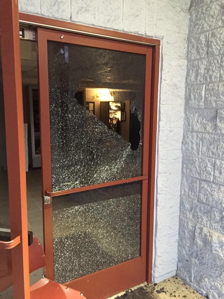 Shattered lobby door
