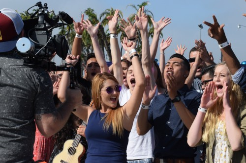 "Contestants cheer as ""American Idol"" videotapes a segment for the show. Photo: Gina Yarbrough/San Diego County News"