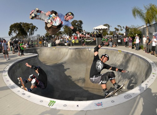 Action photo of Steve Caballero, Andy Macdonald and Lester Kasai attached. Photo: Ray Zimmerman.