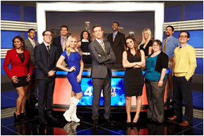 "Twelve hopefuls on Funny Or Die Presents America's Next Weatherman from left, Jennifer ""Jazzy T"" Williams, Frank Margini, Jeff Forgeron, Miller Robson, Jenn Barlow, Mackenzie Bart, Ron Hilliard, Michelle Rotella, Aubrey Evans, Christina Faraone, David Collins, and Drew Logan. Photo: TBS"