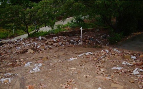 Rutherford Road in Ramona was covered in mud and debris after the weekend's rainstorm.