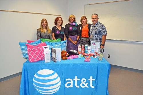 Women of AT&T and Human Trafficking Task Force with 'Comfort bags.'