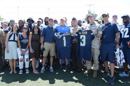 San Diego Chargers pose for photos at the M