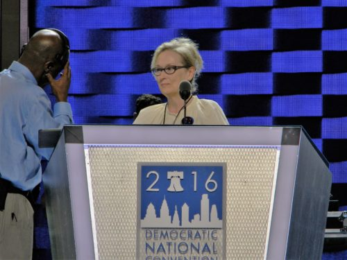 Actress Meryl Streep surveys the stage before giving a rousing defense of Hillary Clinton's nomination victory. Photo: Danny R. Johnson/San Diego County News