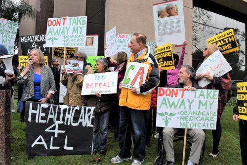Obamacare Supporters Hold Rally At Congress Issa's Office