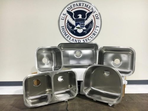Customs And Border Patrol Officers Seize $1M In Counterfeit Stainless Steel Sinks