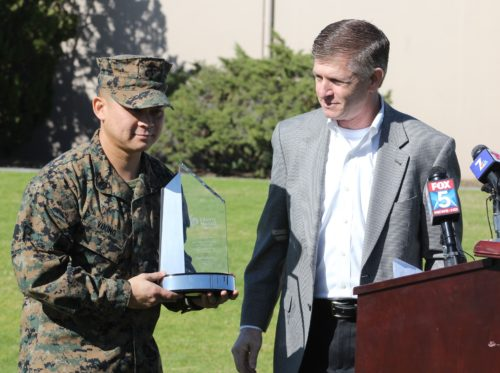 Marine Who Saved UPS Driver's Life Honored